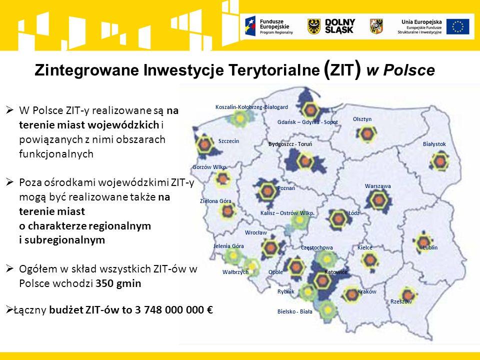 Zintegrowane Inwestycje Terytorialne ( ZIT ) w Polsce Szczecin Gdańsk – Gdynia - Sopot Białystok Olsztyn Gorzów Wlkp. Kalisz – Ostrów Wlkp. Poznań Zie
