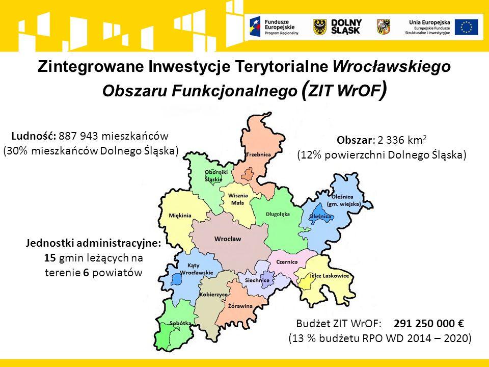 Zintegrowane Inwestycje Terytorialne Wrocławskiego Obszaru Funkcjonalnego ( ZIT WrOF ) Obszar: 2 336 km 2 (12% powierzchni Dolnego Śląska) Ludność: 88