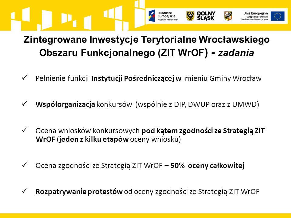 Zintegrowane Inwestycje Terytorialne Wrocławskiego Obszaru Funkcjonalnego (ZIT WrOF ) - statystyka zakończono składanie wniosków w ramach 12 konkursów; 10 konkursów w trakcie trwania; 3 konkursy w trakcie przygotowania do ogłoszenia; 32 konkursy ogłoszone i planowane do ogłoszenia w 2016 r.