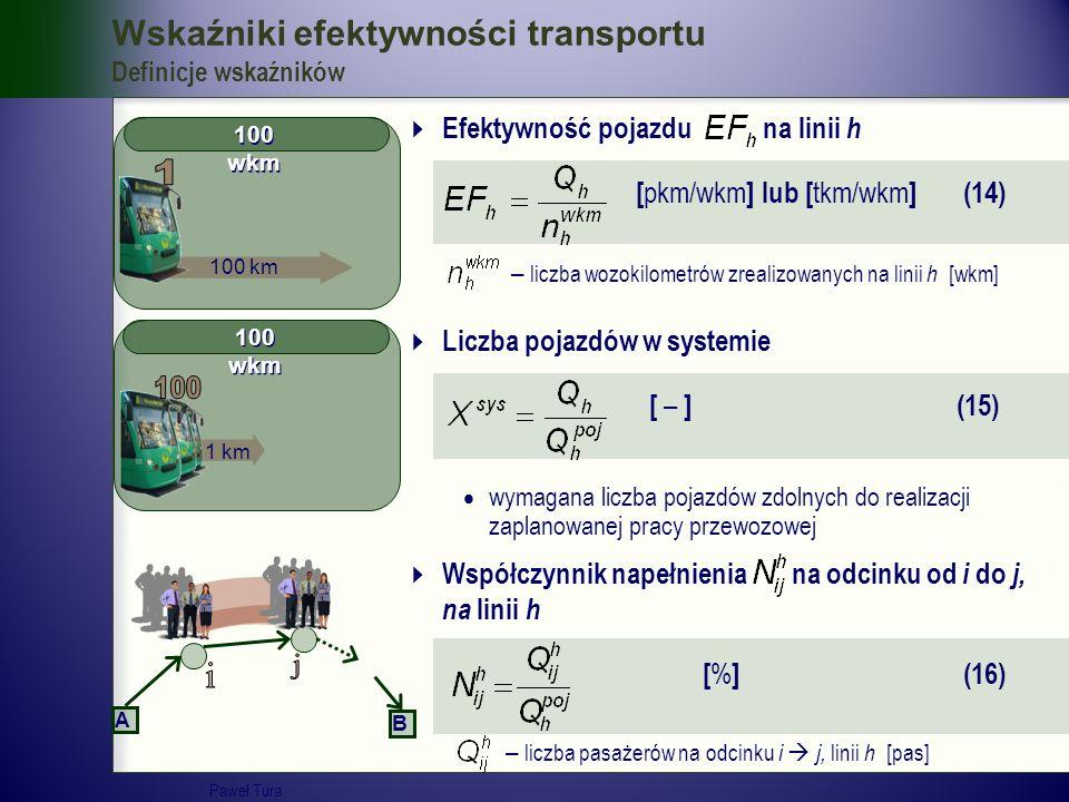 100 wkm Wskaźniki efektywności transportu Definicje wskaźników  Efektywność pojazdu na linii h [ pkm/wkm ] lub [ tkm/wkm ] (14) – liczba wozokilometr