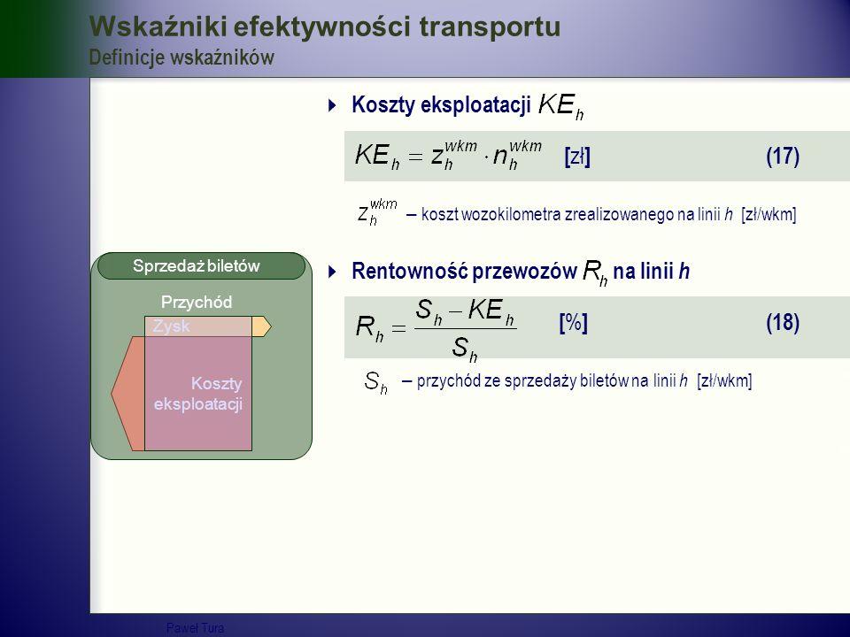 Wskaźniki efektywności transportu Definicje wskaźników  Koszty eksploatacji [ zł ] (17) – koszt wozokilometra zrealizowanego na linii h [zł/wkm]  Re