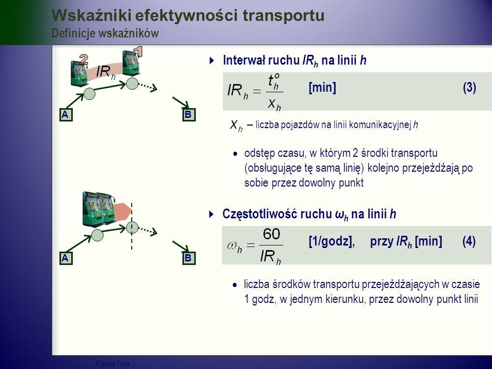 Wskaźniki efektywności transportu Definicje wskaźników  Interwał ruchu IR h na linii h [min] (3)  odstęp czasu, w którym 2 środki transportu (obsług