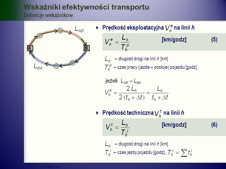 Wskaźniki efektywności transportu Definicje wskaźników  Prędkość eksploatacyjna na linii h [km/godz] (5) – długość drogi na linii h [km] – czas pracy