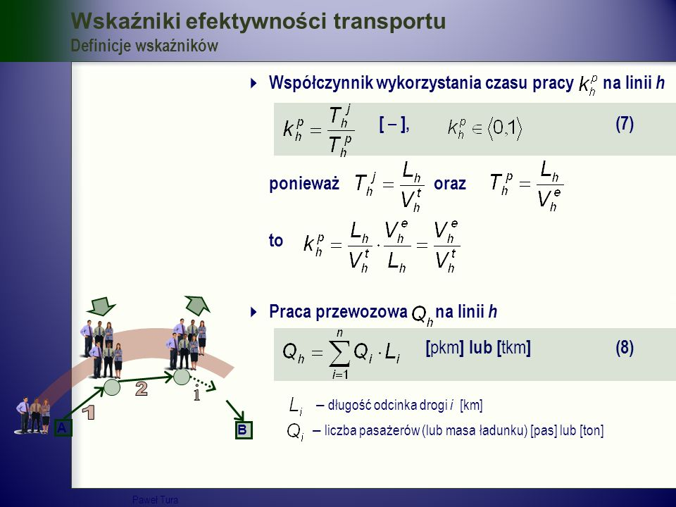 Wskaźniki efektywności transportu Definicje wskaźników  Współczynnik wykorzystania czasu pracy na linii h [ – ], (7) ponieważ oraz to  Praca przewoz