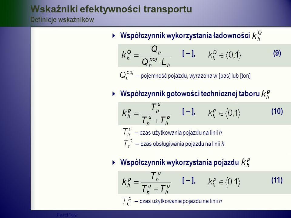 Wskaźniki efektywności transportu Definicje wskaźników  Współczynnik wykorzystania ładowności [ – ], (9) – pojemność pojazdu, wyrażona w [pas] lub [t
