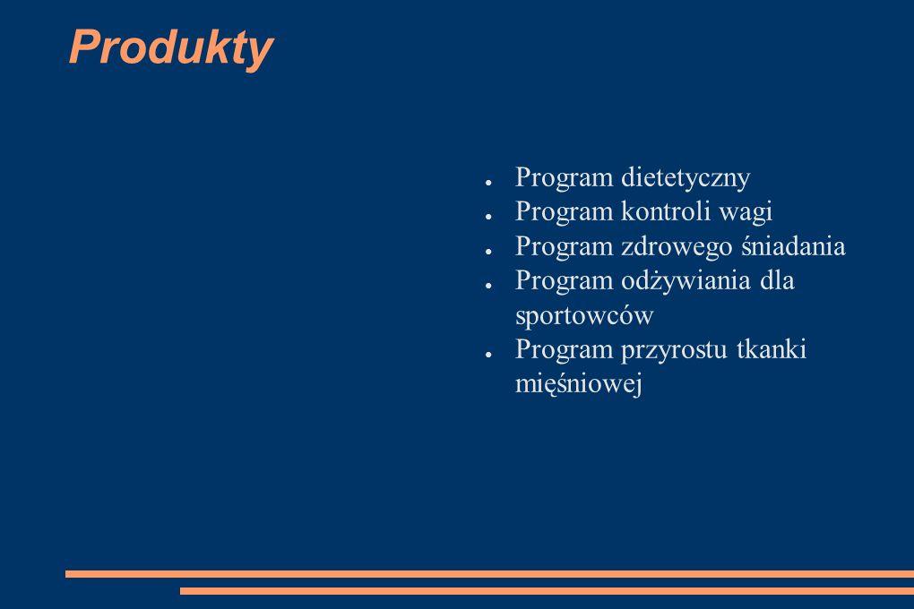 Produkty ● Program dietetyczny ● Program kontroli wagi ● Program zdrowego śniadania ● Program odżywiania dla sportowców ● Program przyrostu tkanki mięśniowej