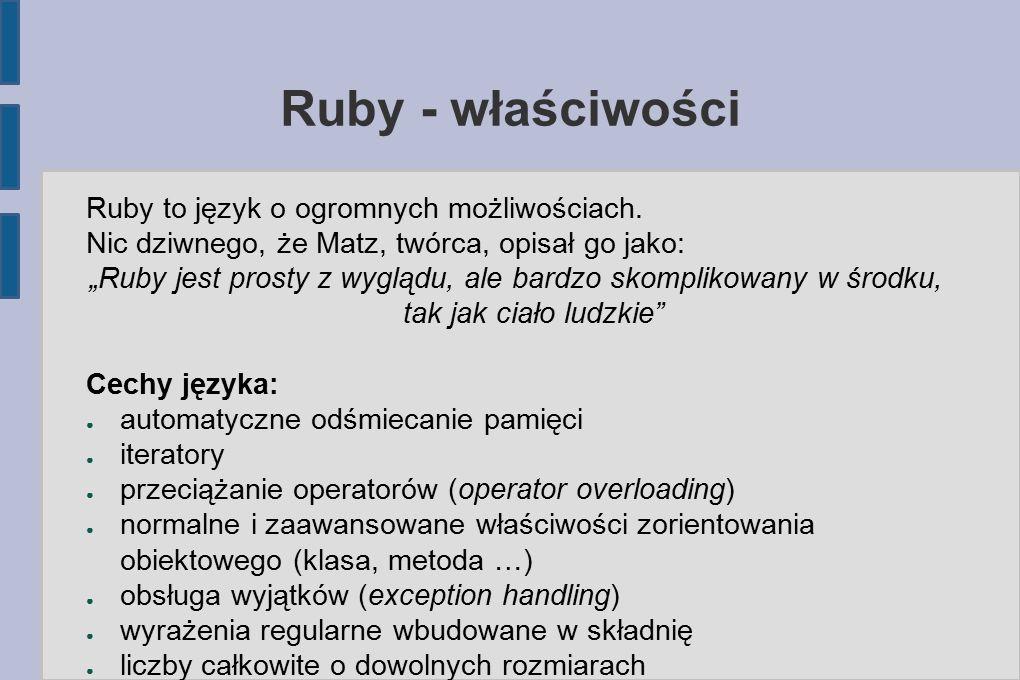 Ruby – podstawy składni