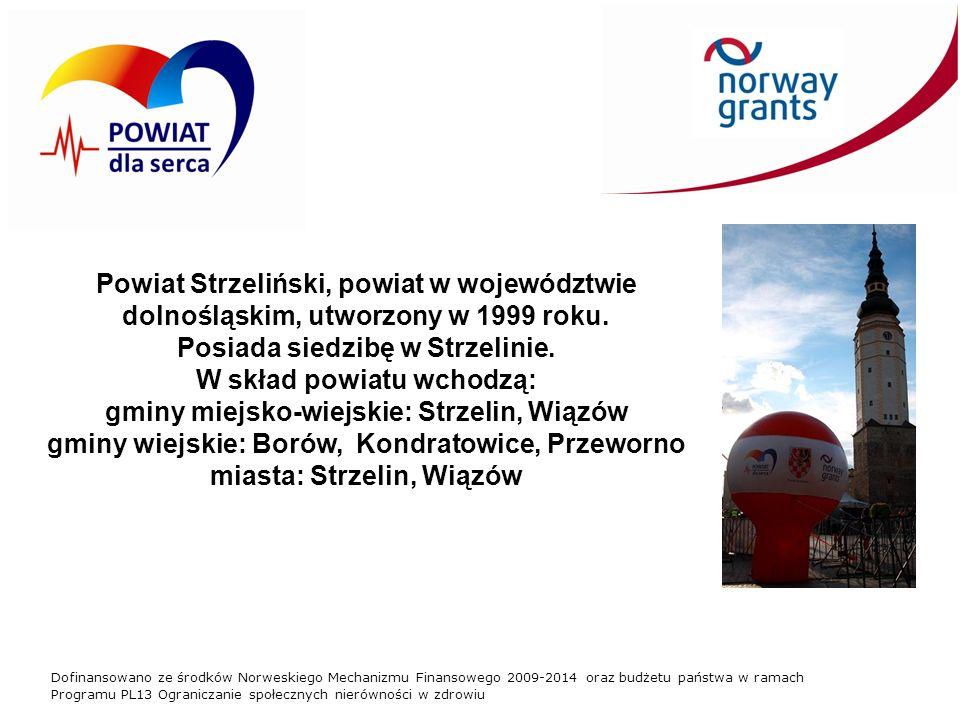 Dofinansowano ze środków Norweskiego Mechanizmu Finansowego 2009-2014 oraz budżetu państwa w ramach Programu PL13 Ograniczanie społecznych nierówności w zdrowiu Powiat Strzeliński to: 44 400 osób; 25 szkół, 19 przychodni, największe Kamieniołomy w Europie (650m szerokości i 120m głębokości), rozległe tereny turystyczne Wzgórz Niemczańsko - Strzelińskich z trasami pieszymi i rowerowymi.