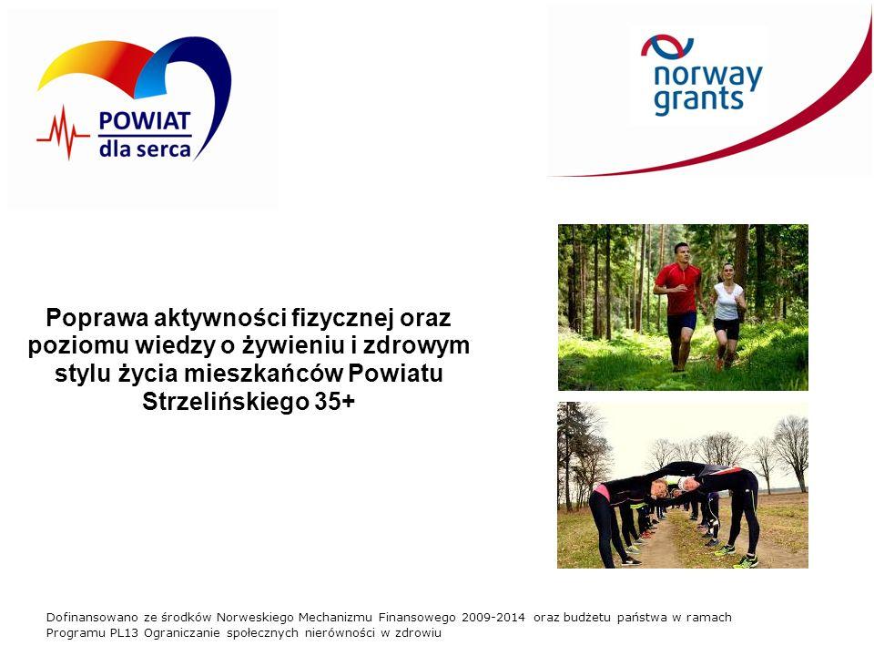Dofinansowano ze środków Norweskiego Mechanizmu Finansowego 2009-2014 oraz budżetu państwa w ramach Programu PL13 Ograniczanie społecznych nierówności w zdrowiu Poprawa aktywności fizycznej oraz poziomu wiedzy o żywieniu i zdrowym stylu życia mieszkańców Powiatu Strzelińskiego 35+