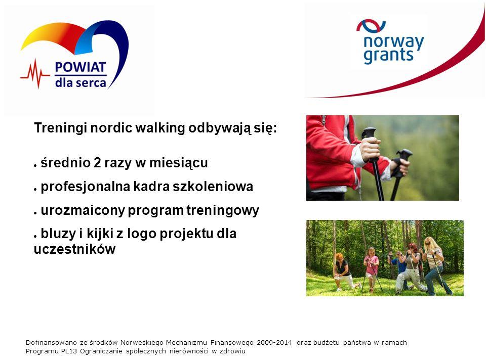 Dofinansowano ze środków Norweskiego Mechanizmu Finansowego 2009-2014 oraz budżetu państwa w ramach Programu PL13 Ograniczanie społecznych nierówności w zdrowiu Treningi nordic walking odbywają się: ● średnio 2 razy w miesiącu ● profesjonalna kadra szkoleniowa ● urozmaicony program treningowy ● bluzy i kijki z logo projektu dla uczestników
