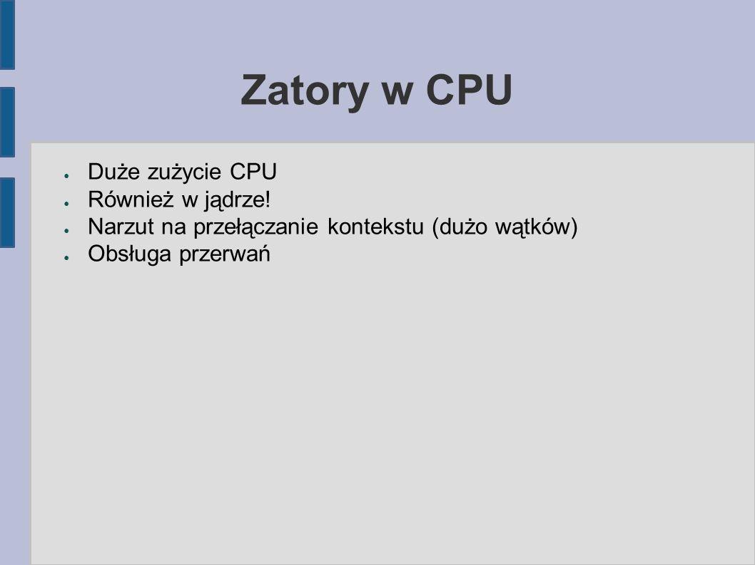 Zatory w CPU ● Duże zużycie CPU ● Również w jądrze.