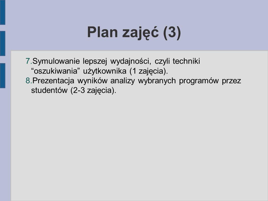 Plan zajęć (3) 7.