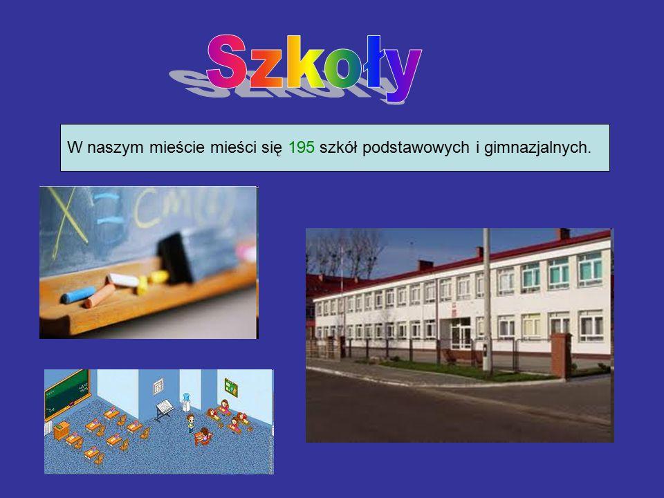 W naszym mieście mieści się 195 szkół podstawowych i gimnazjalnych.