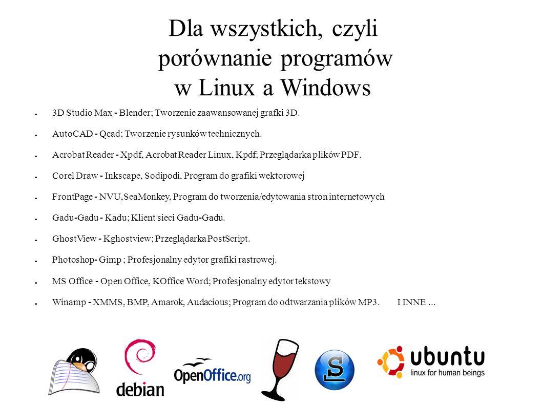 Dla wszystkich, czyli porównanie programów w Linux a Windows ● 3D Studio Max - Blender; Tworzenie zaawansowanej grafki 3D. ● AutoCAD - Qcad; Tworzenie