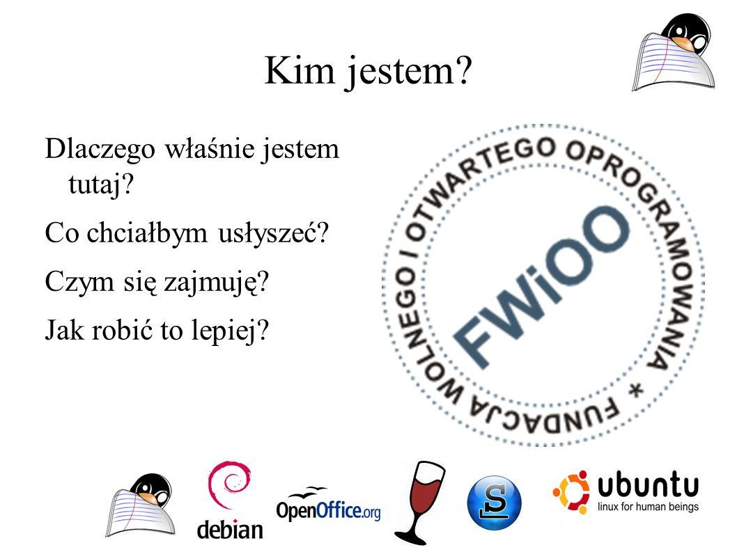 Kosz instalacji pracowni komputerowej - oprogramowanie Linux licencja serwera – 0 zł Licencja work-stacji – 0 zł Licencja oprogramowania stacji np: programy graficzne – 0 zł pakiet office – 0 zł Suma = 0 zł Windows Licencja serwera SBS ~1500zł Licencja Work-stacji ~ 16x350 zł Licencja oprograowania np: Licencja programy graficzne – 349 euro netto Licencja programy biurowe – 298 zł / stacje SUMA = 11968 zł ZNAJDŹ RÓŻNICE????