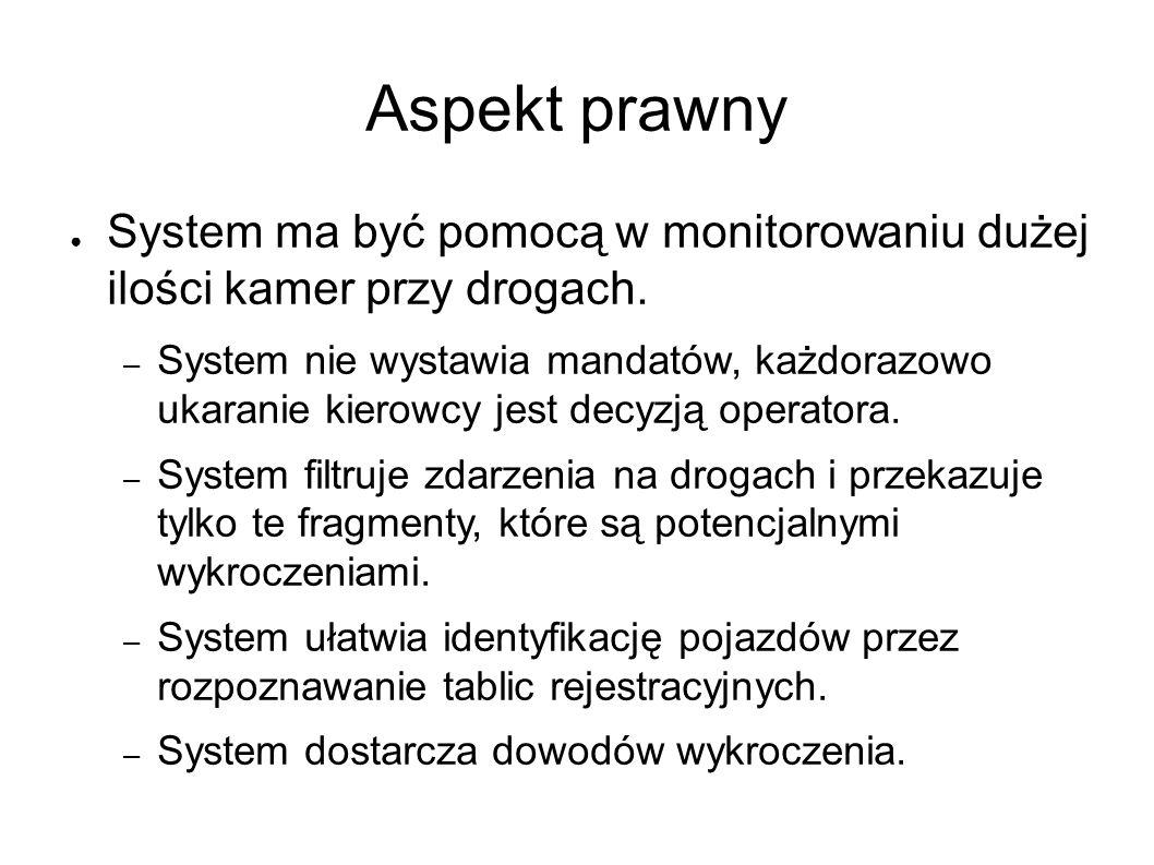 Aspekt prawny ● System ma być pomocą w monitorowaniu dużej ilości kamer przy drogach. – System nie wystawia mandatów, każdorazowo ukaranie kierowcy je