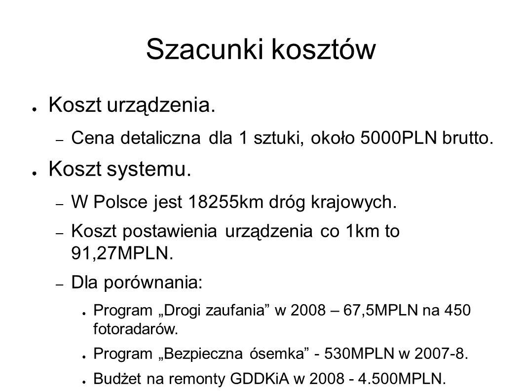 Szacunki kosztów ● Koszt urządzenia. – Cena detaliczna dla 1 sztuki, około 5000PLN brutto. ● Koszt systemu. – W Polsce jest 18255km dróg krajowych. –