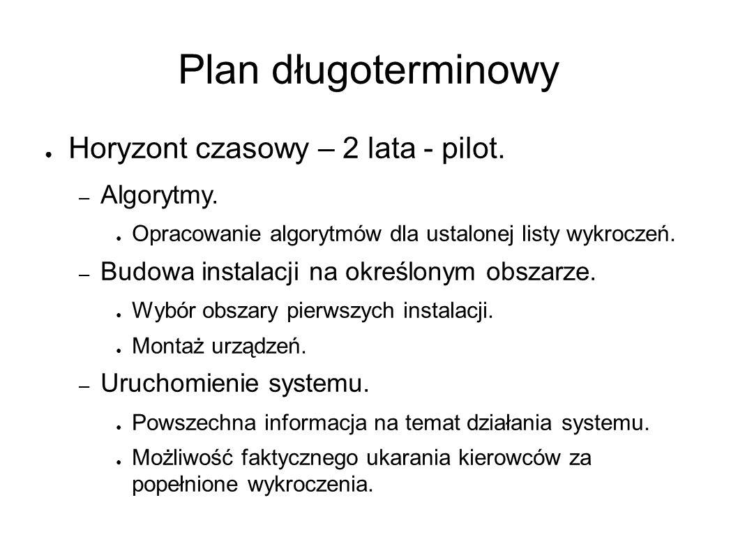 Plan długoterminowy ● Horyzont czasowy – 2 lata - pilot. – Algorytmy. ● Opracowanie algorytmów dla ustalonej listy wykroczeń. – Budowa instalacji na o