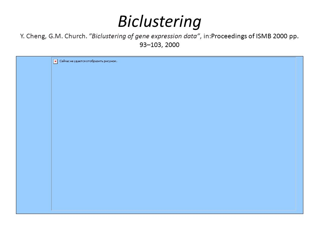 Biclustering Y. Cheng, G.M. Church.