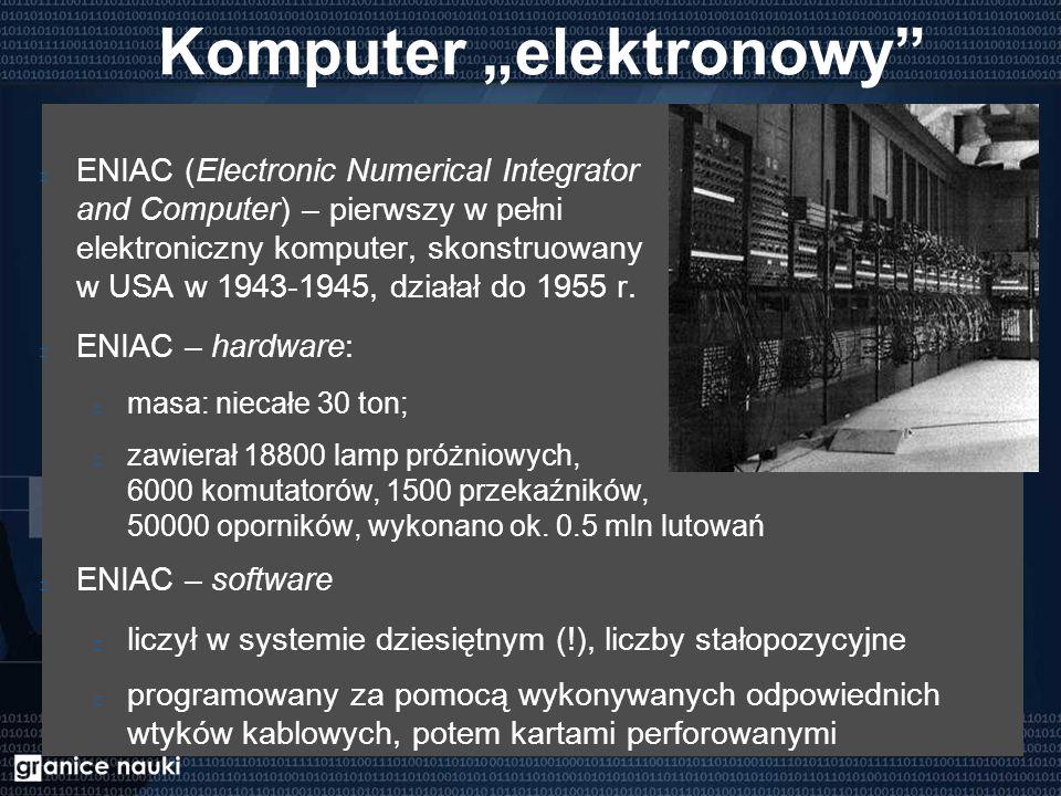 """Komputer """"elektronowy ENIAC (Electronic Numerical Integrator and Computer) – pierwszy w pełni elektroniczny komputer, skonstruowany w USA w 1943-1945, działał do 1955 r."""
