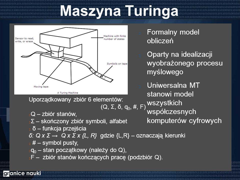 Maszyna Turinga Formalny model obliczeń Oparty na idealizacji wyobrażonego procesu myślowego Uniwersalna MT stanowi model wszystkich współczesnych komputerów cyfrowych Uporządkowany zbiór 6 elementów: (Q, Σ, δ, q 0, #, F) Q – zbiór stanów, Σ – skończony zbiór symboli, alfabet δ – funkcja przejścia δ: Q x Σ → Q x Σ x {L, R} gdzie {L,R} – oznaczają kierunki # – symbol pusty, q 0 – stan początkowy (należy do Q), F – zbiór stanów kończących pracę (podzbiór Q).