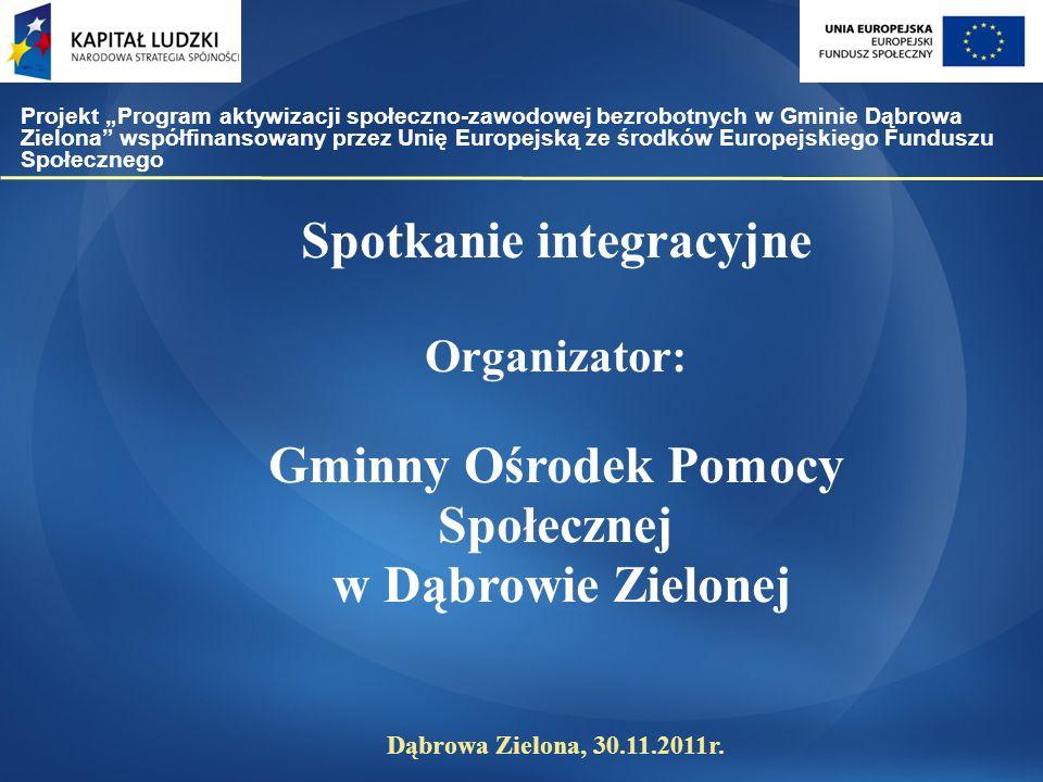 Spotkanie integracyjne Organizator: Gminny Ośrodek Pomocy Społecznej w Dąbrowie Zielonej Dąbrowa Zielona, 30.11.2011r.