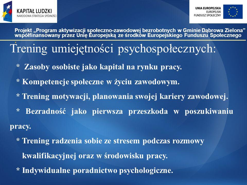 Trening umiejętności psychospołecznych: * Zasoby osobiste jako kapitał na rynku pracy.