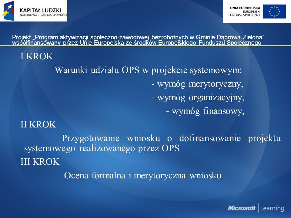 """Projekt """"Program aktywizacji społeczno-zawodowej bezrobotnych w Gminie Dąbrowa Zielona współfinansowany przez Unię Europejską ze środków Europejskiego Funduszu Społecznego I KROK Warunki udziału OPS w projekcie systemowym: - wymóg merytoryczny, - wymóg organizacyjny, - wymóg finansowy, II KROK Przygotowanie wniosku o dofinansowanie projektu systemowego realizowanego przez OPS III KROK Ocena formalna i merytoryczna wniosku"""