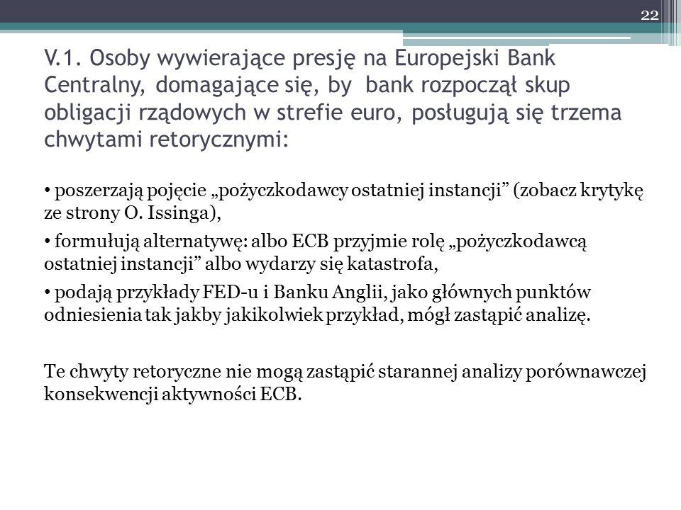 V.1. Osoby wywierające presję na Europejski Bank Centralny, domagające się, by bank rozpoczął skup obligacji rządowych w strefie euro, posługują się t