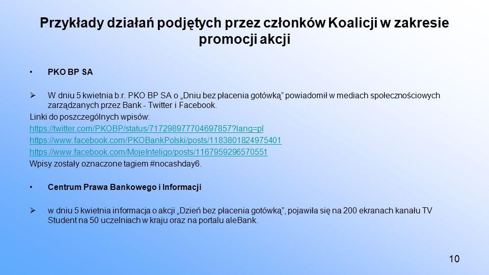 Przykłady działań podjętych przez członków Koalicji w zakresie promocji akcji PKO BP SA  W dniu 5 kwietnia b.r.
