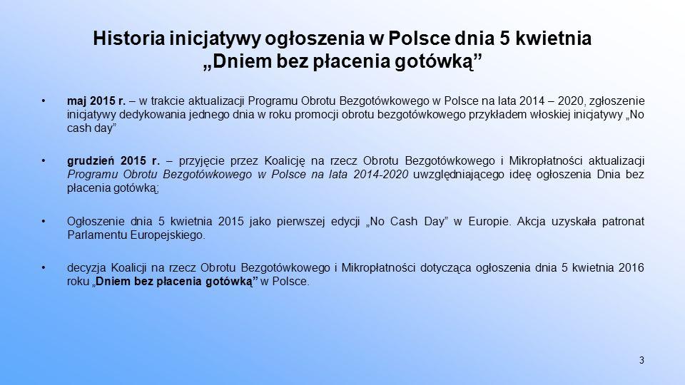 """Historia inicjatywy ogłoszenia w Polsce dnia 5 kwietnia """"Dniem bez płacenia gotówką maj 2015 r."""
