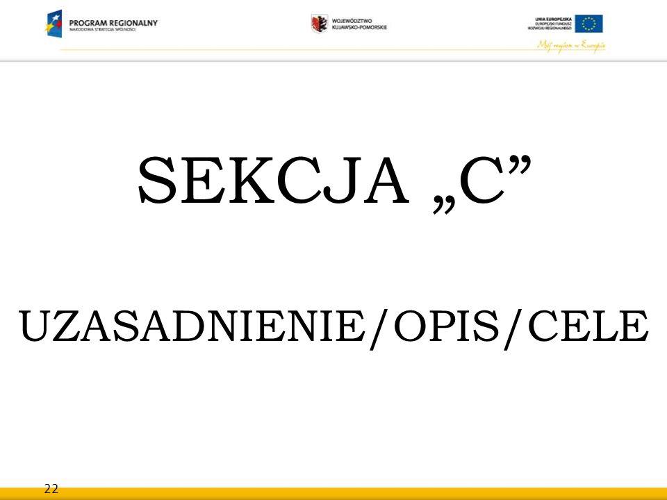 """22 SEKCJA """"C"""" UZASADNIENIE/OPIS/CELE"""