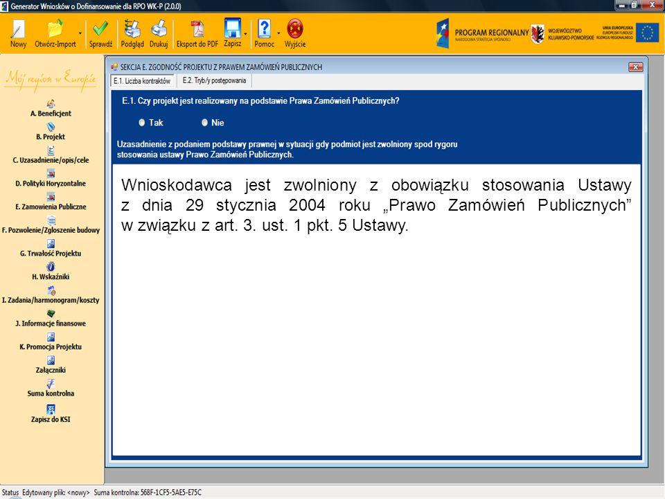 """Wnioskodawca jest zwolniony z obowiązku stosowania Ustawy z dnia 29 stycznia 2004 roku """"Prawo Zamówień Publicznych"""" w związku z art. 3. ust. 1 pkt. 5"""