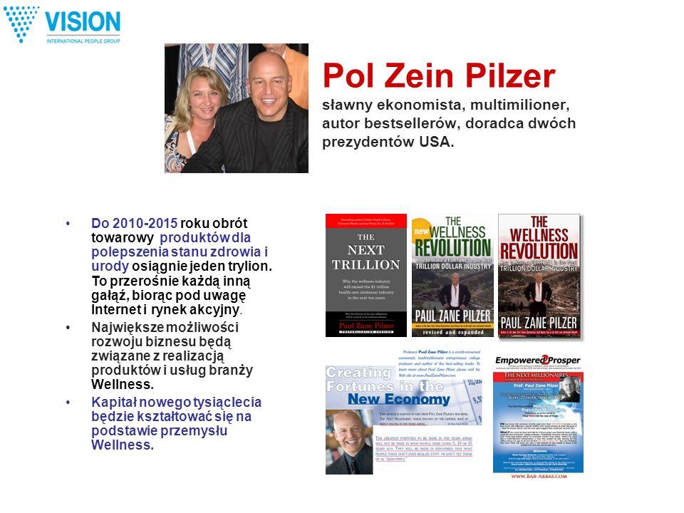 Pol Zein Pilzer sławny ekonomista, multimilioner, autor bestsellerów, doradca dwóch prezydentów USA. Do 2010-2015 roku obrót towarowy produktów dla po