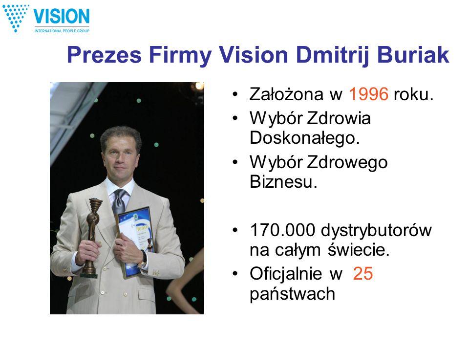 Prezes Firmy Vision Dmitrij Buriak Założona w 1996 roku. Wybór Zdrowia Doskonałego. Wybór Zdrowego Biznesu. 170.000 dystrybutorów na całym świecie. Of