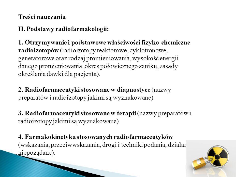 Treści nauczania II.Podstawy radiofarmakologii: 1.