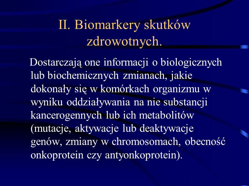 II. Biomarkery skutków zdrowotnych.
