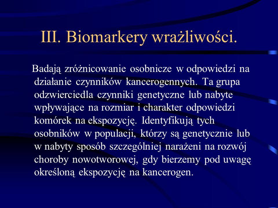 III. Biomarkery wrażliwości.