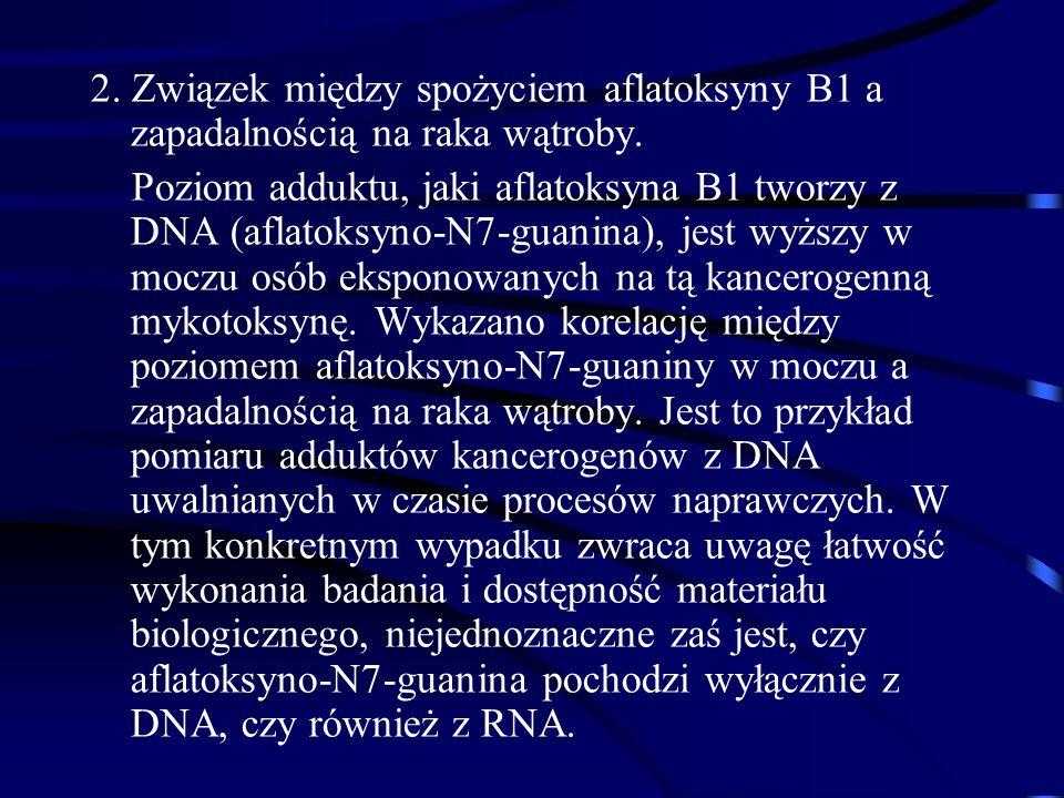 2. Związek między spożyciem aflatoksyny B1 a zapadalnością na raka wątroby.