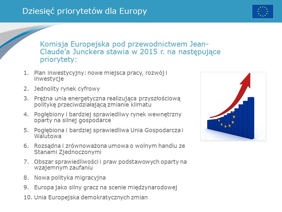Dziesięć priorytetów dla Europy Komisja Europejska pod przewodnictwem Jean- Claude'a Junckera stawia w 2015 r.