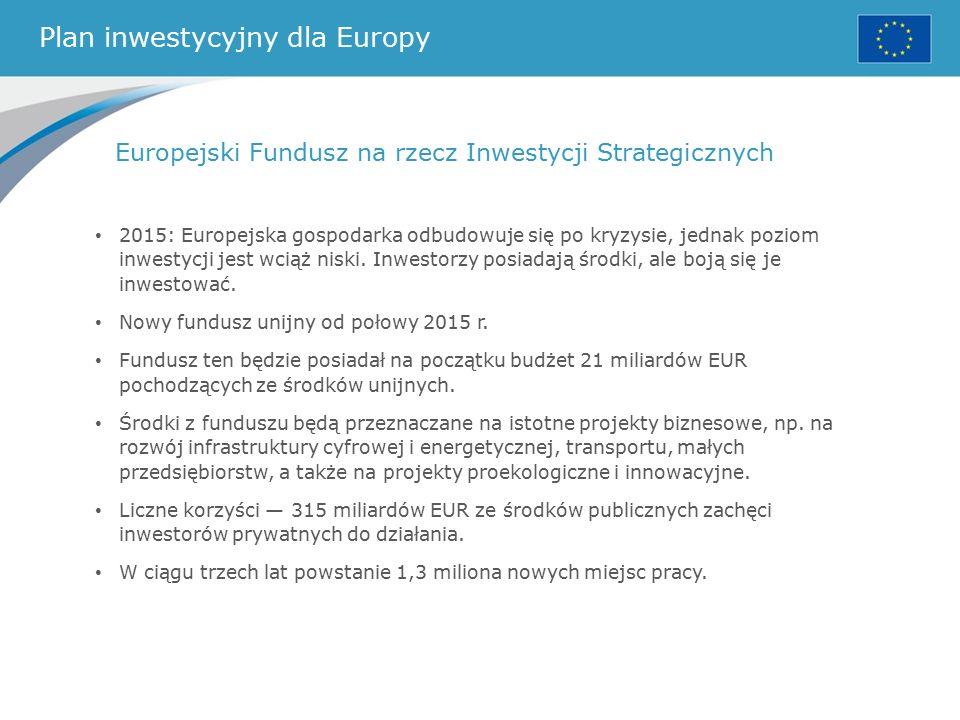 Plan inwestycyjny dla Europy Europejski Fundusz na rzecz Inwestycji Strategicznych 2015: Europejska gospodarka odbudowuje się po kryzysie, jednak poziom inwestycji jest wciąż niski.