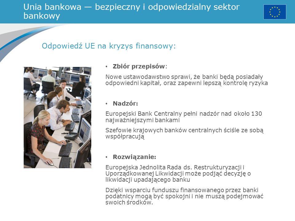 Unia bankowa — bezpieczny i odpowiedzialny sektor bankowy Odpowiedź UE na kryzys finansowy: Zbiór przepisów: Nowe ustawodawstwo sprawi, że banki będą posiadały odpowiedni kapitał, oraz zapewni lepszą kontrolę ryzyka Nadzór: Europejski Bank Centralny pełni nadzór nad około 130 najważniejszymi bankami Szefowie krajowych banków centralnych ściśle ze sobą współpracują Rozwiązanie: Europejska Jednolita Rada ds.