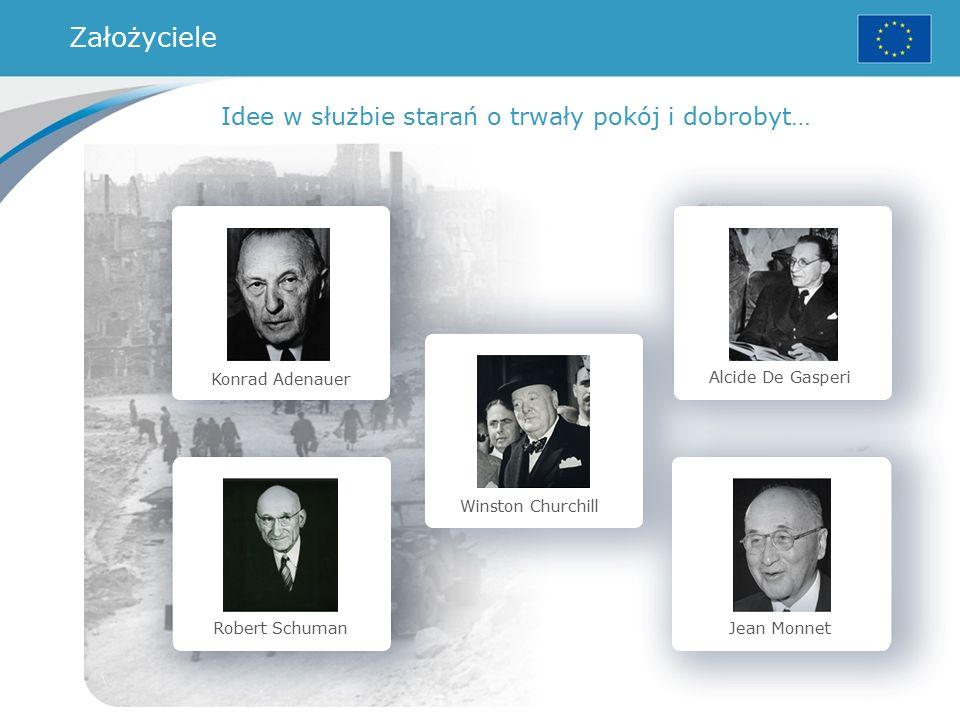 Konrad Adenauer Robert Schuman Winston Churchill Alcide De Gasperi Jean Monnet Idee w służbie starań o trwały pokój i dobrobyt… Założyciele