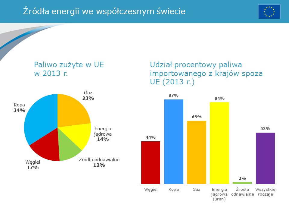 Źródła energii we współczesnym świecie Paliwo zużyte w UE w 2013 r.