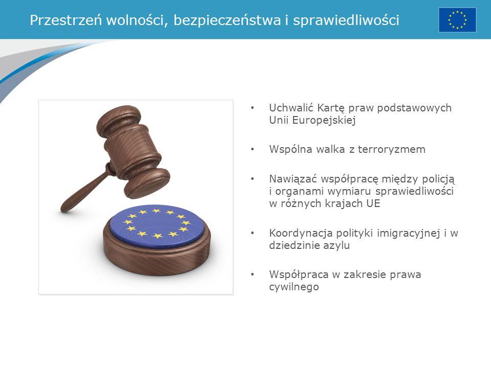 Przestrzeń wolności, bezpieczeństwa i sprawiedliwości Uchwalić Kartę praw podstawowych Unii Europejskiej Wspólna walka z terroryzmem Nawiązać współpracę między policją i organami wymiaru sprawiedliwości w różnych krajach UE Koordynacja polityki imigracyjnej i w dziedzinie azylu Współpraca w zakresie prawa cywilnego