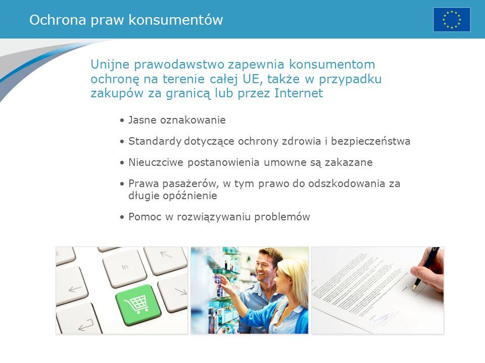 Ochrona praw konsumentów Jasne oznakowanie Standardy dotyczące ochrony zdrowia i bezpieczeństwa Nieuczciwe postanowienia umowne są zakazane Prawa pasażerów, w tym prawo do odszkodowania za długie opóźnienie Pomoc w rozwiązywaniu problemów Unijne prawodawstwo zapewnia konsumentom ochronę na terenie całej UE, także w przypadku zakupów za granicą lub przez Internet
