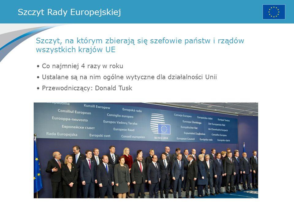 Szczyt Rady Europejskiej Co najmniej 4 razy w roku Ustalane są na nim ogólne wytyczne dla działalności Unii Przewodniczący: Donald Tusk Szczyt, na którym zbierają się szefowie państw i rządów wszystkich krajów UE