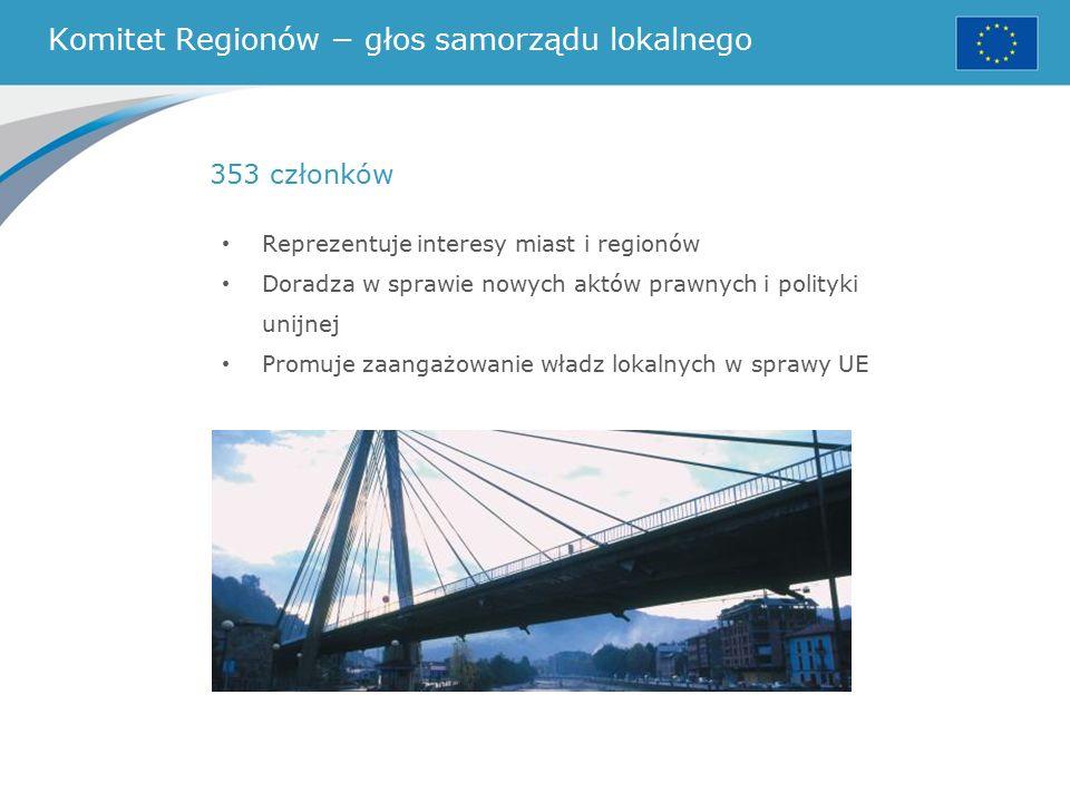 Komitet Regionów − głos samorządu lokalnego Reprezentuje interesy miast i regionów Doradza w sprawie nowych aktów prawnych i polityki unijnej Promuje zaangażowanie władz lokalnych w sprawy UE 353 członków