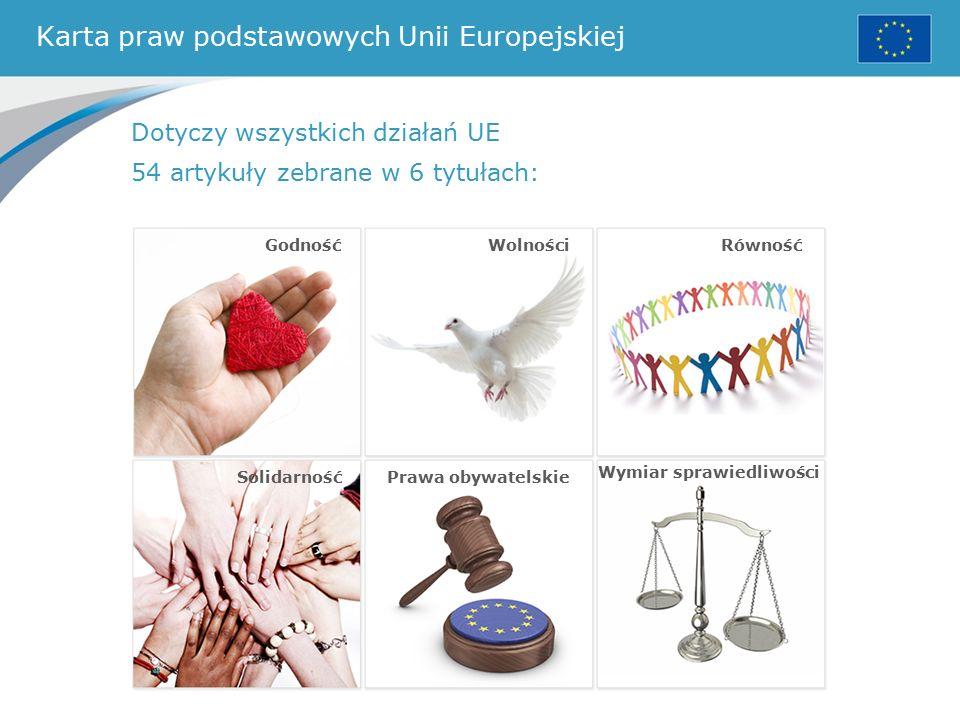 Karta praw podstawowych Unii Europejskiej Dotyczy wszystkich działań UE 54 artykuły zebrane w 6 tytułach: WolnościRówność SolidarnośćPrawa obywatelskie Wymiar sprawiedliwości Godność