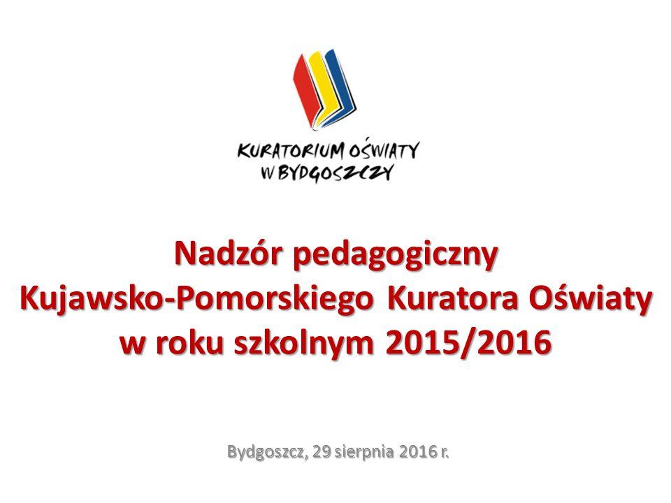 Nadzór pedagogiczny Kujawsko-Pomorskiego Kuratora Oświaty w roku szkolnym 2015/2016 Bydgoszcz, 29 sierpnia 2016 r.